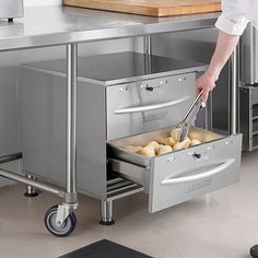"""Keep your most popular sides and entrees hot and ready to serve with the ServIt WDSFS-2 double freestanding drawer warmer! This warmer features 900 watts of heating power and two drawers that accommodate a full size 12"""" x 20"""" x 6"""" food pan in each drawer that you can fill to the brim with a variety of hot foods. There are also pan supports to accommodate different compatible sizes of food pans in this warmer. The durable, full stainless steel construction makes sure that this drawer warmer will Gooey Chocolate Chip Cookies, Fiberglass Insulation, Keep Food Warm, Drawers, Entrees, Taco Cart, Fill, Size 12, Construction"""