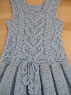 Warm sundress with folds for the girl (Knitting by spokes) | the Inspiration of the Needlewoman Magazine