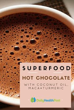 There's nothing more comforting than a warm cup of hot cocoa on a cold day.  While it's a true winter classic, most american families rely on chemical-laden powdered hot chocolate mix or store-bought chocolate syrup to make it themselves.You don't need to use dairy or expensive chocolate to make the best hot cocoa, all you need is just a few superfood ingredients you probably already have a home. #superfood