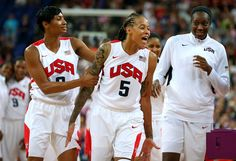 Seimone Augustus (5) and Angel McCaughtry (8) of the U.S. celebrate