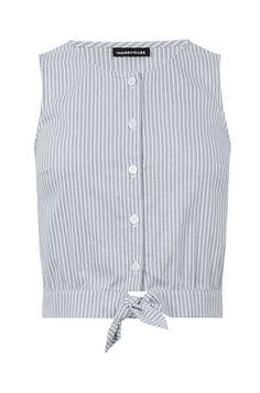 Warehouse, Stripe Cotton Tie Front Top Blue Stripe 0