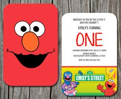 For Jayan! @Abbie Barnes Barnes Pari  Kids Birthday Invitation Sesame Street by EmbellisheDesigns