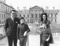 Portrait of the Marquess And Marchioness Of Tavistock, Robin Russell and his wife Henrietta, with their children Andrew (left) and Robin in the grounds of Woburn Abbey, England, April 1974.
