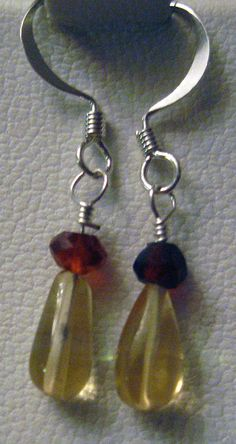 Citrine & Hessonite Garnet Silver Earrings by SacredCoyoteDesigns, $9.00