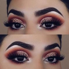 Brown Smokey Eye with Glitter for Brown Eyes