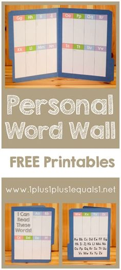 Create a personal word wall with these FREE printables!  From @1plus1plus1 #homeschool