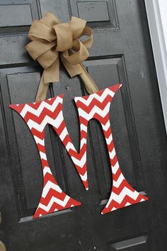 Chevron 24 inch Initial Letter Door Decor/Red and White with Burlap ribbon hanger via Etsy