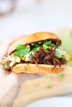 Lightened up BBQ Pulled Pork Sandwich with Cilantro Lime Slaw - Lillie Eats and Tells