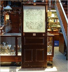 Antique Saloon Door with Etched Glass - Legacy Vintage Building Materials & Antiques
