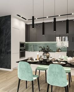 62 Modern Kitchen Interior Designs That Rock Your Cooking World ~ House Design Ideas Simple Kitchen Design, Kitchen Room Design, Kitchen Cabinet Colors, Dining Room Design, Home Decor Kitchen, Interior Design Kitchen, Kitchen Ideas, Kitchen Cabinets, Black Cabinets