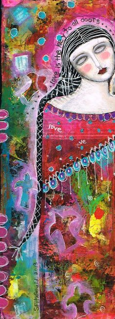 """by kitty jujube aka Sandi Fitzgerald """"Love is the Key to All Doors"""" mixed media collage on 5.5""""x14"""" foam board (sold)"""