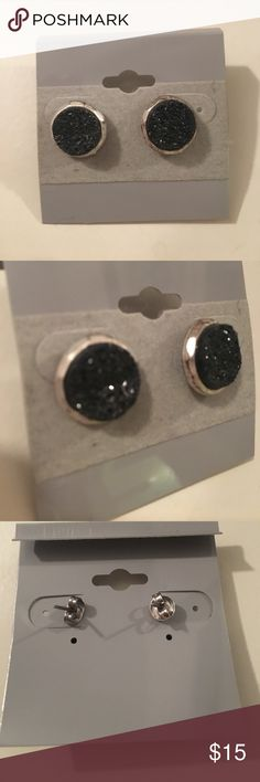 Black Druzy Studs Raw black crystallized druzy stud earrings Jewelry Earrings