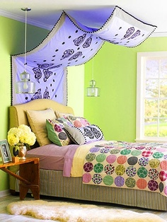 Custom Canopy; colorful bedroom #Artsandcrafts