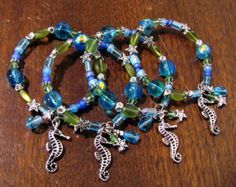 Napkin Rings Beaded Seahorse Themed in Blue & Green Set of 4