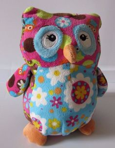 "Mary Meyer Owl Plush Blue Pink Brown Floral Peace Signs 8"" Stuffed Animal #MaryMeyer"
