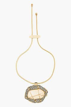 Lanvin Hammered Gold And Crystal Bolo Tie for women   SSENSE