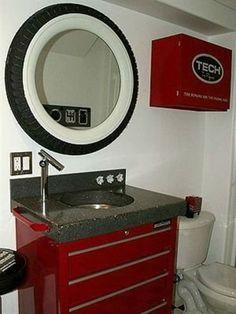 tire mirror for bathroom racingmetal com man cave pinterest