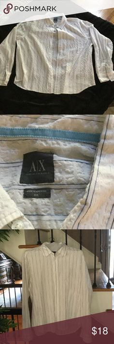 Armani exchange Long sleeve white and blue striped Armani exchange shirt. Size extra extra large. Great condition.. A/X Armani Exchange Shirts Casual Button Down Shirts