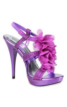 glitter high heels with ruffle organza t-strap  $32.50