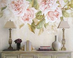 Watercolor Roses Fresh Spring Flower & Leaves by DreamyWall