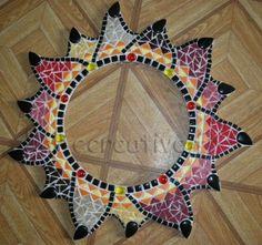 mosaïque le miroir africain couché de soleil