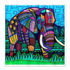 Elephant Art Shower Curtain - Kids or Adult Shower Curtains - Abstract Colorful Print Bathroom decor