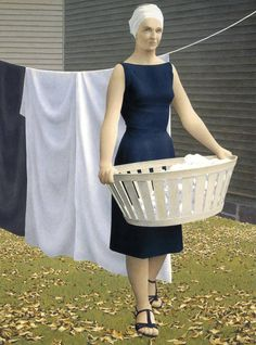 'Woman at Clothesline' by Canadian artist Alex Colville Glazed oil emulsion on masonite, x cm. via welcome to colville Alex Colville, Canadian Painters, Canadian Artists, Christopher Pratt, Tate Gallery, 24. August, Jack Vettriano, Magic Realism, Fabian Perez