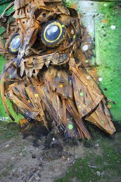 Bordalo II Creates Majestic Owl Using Trash From the Streets (6 pictures)