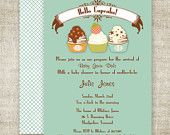 CUPCAKE Boy BABY SHOWER Invitations diy Printable Digital Custom Cards - 89519768