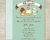 CUPCAKE Boy BABY SHOWER Invitations diy Printable Digital Custom Cards - 89519768