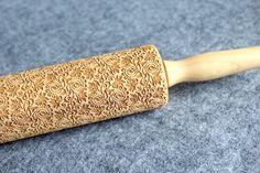Flower Pattern Embossing Rolling Pin Wood by MelodyWoodArt on Etsy