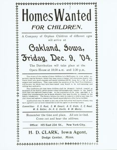 """""""Homes Wanted"""" flyer for orphans Book Club Books, Book Lists, Orphan Train Book, National History Day, Train Info, Innocence Lost, Girls Hub, What's The Number, Books For Moms"""