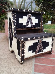 """Native American Style Or Southwestern Decor Cowhide """"feather"""" Step Stool 