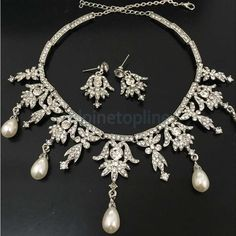 Crystal Pearl Angel Pendent Jewelry Wedding Party Earrings Necklace Set Gift