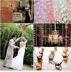 Decoración de boda original y colorida con pájaros de papel DIY