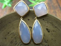 Lavender Chalcedony and Gold Nora Earrings  by mialarajewelry