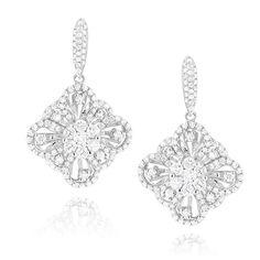 Womens Flower Diamond Dangle Earrings 1.8ct 14K Gold