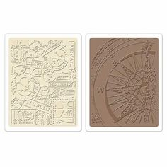 Sizzix® Texture Fades™ Embossing Folders 2PK - Airmail & Compass Set by Tim Holtz®