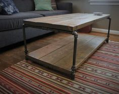 Industrial Coffee Table, Rustic Table, Steel Pipe, Rustic Coffee Table, Rustic Accent Table, Living Room, Ships from Detroit, Michigan