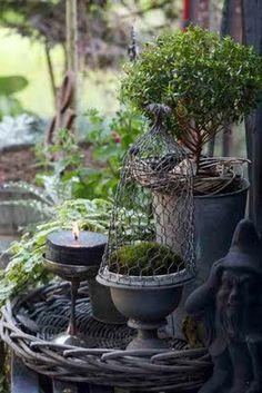 Outdoor Living Spaces - topiary and zinc are used to create an outdoor display - Trädgårdsflow Dream Garden, Home And Garden, Pot Jardin, Deco Nature, Deco Floral, My Secret Garden, Garden Styles, Garden Pots, Garden Bed