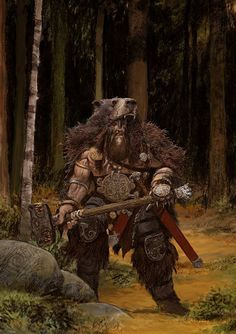 Bear Clan Warrior Art for Blood Rage | Fantasy Illustration Character Concept Warhammer Mace Berserker
