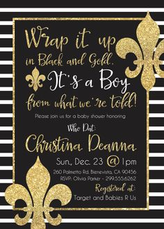 New Orleans Saints Who Dat Black and Gold Baby Shower Invite DIY Printable by LilPineappleStudios on Etsy https://www.etsy.com/listing/254375055/new-orleans-saints-who-dat-black-and