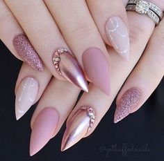 On average, the finger nails grow from 3 to millimeters per month. If it is difficult to change their growth rate, however, it is possible to cheat on their appearance and length through false nails. Are you one of those women… Continue Reading → Solid Color Nails, Nail Colors, Colours, Acrylic Nail Designs, Nail Art Designs, Paint Designs, Crome Nails, Different Nail Shapes, Rose Gold Nails