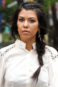 16 hair and makeup ideas to copy from the Kardashian and Jenners: Kourtney Kardashian's side braid.