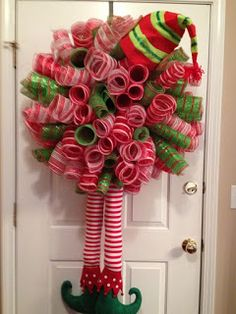 My Christmas elf wreath I made Wreath Crafts, Diy Wreath, Christmas Projects, Holiday Crafts, Christmas Holidays, Christmas Trends, Wreath Ideas, Wreaths And Garlands, Deco Mesh Wreaths