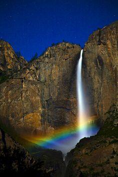 Moonbow Shot of Yosemite Upper Twin Falls! - Allen Shirley