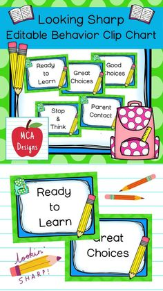 """This pencil themed behavior clip chart is part of my Looking Sharp Classroom Decor Collection. Each poster is accented with bright colors and pencil themed graphics! In addition to my """"print & go"""" behavior clip chart, I have also included an """"editable"""" file, so you personalize the chart to suit your needs. This product includes the following posters: Ready to Learn Great Choices Good Choices Stop & Think Parent Contact Editable file for you to personalize! #teacherspayteachers #tpt Classroom Board, 5th Grade Classroom, Classroom Posters, Classroom Decor, Behavior Management, Classroom Management, Teacher Resources, School Resources, Classroom Resources"""