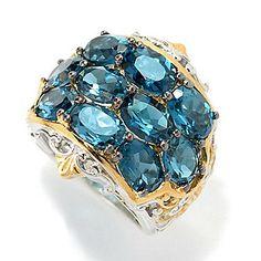 Gems en Vogue 9.60ctw London Blue Topaz Three-Row Wide Band Ring