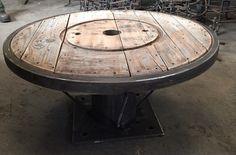 Touret bois fer pour salon type loft industrial Table basse moderne Salon Contemporain Fait maison recup décoration intérieur