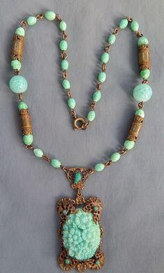 Vintage Art Nouveau Czech Brass Peking Glass Carved Flower Lavalier Necklace